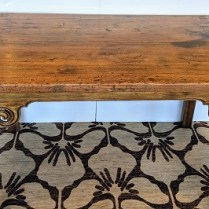 "Antique Chinese altar table, wider than typical, with beautiful scroll details. 68.75"" l x 31.25"" w x 32.5""h. 595.-"