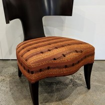 "**ITEM NOW SOLD** Donghia Klismos lounge chair, approx. 7 years old. Bergamo fabric on seat. 23.5""w x 26""d x 30.25""h. 695.-"