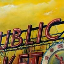 "**ITEM NOW SOLD** 'Red Ballon' by Joesph Ungari, Seattle artist (1948-2017). 48""w x 30""h. Original List: $1,400. Modele's Price: 495.-"