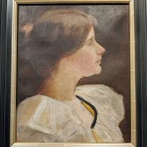 """Framed portrait, oil on canvas, mounted on board. Age/origin not known. 17.75""""w x 20.75""""h. 295.-"""