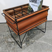 "**ITEM NOW SOLD** Leather/steel magazine rack c. 1994-96 by Steven Hensel Studio Steel line. No longer in production. 19.5""l x 12""w x 15.5""h. 250.-"
