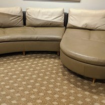 "Roche Bobois 2-pc. leather sectional. Purchased in 2009. Customized legs. 131.5""l x 69""d. Orig. List: $12,000. Modele's Price: 3500.-"