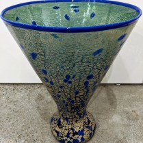 "Handblown glass vase signed S.G.S. (Seattle Glass Studio). 5-10 years old. 11.25"" dia. x 14.75""h. 295.-"