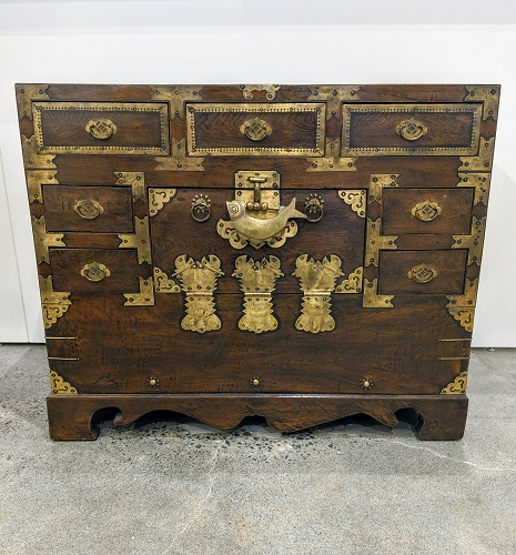 """Small antique Korean blanket chest. Purchased from the Stephen Earls Showroom in the early 1970's. 35""""w x 14.5""""d x 28.5""""h. 495.-"""