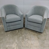 "**ITEM NOW SOLD** Pair Metropolitan swivel chairs from Del Teet, 5 yrs. old. 26.5""w x 31""d x 29.5""h. Orig. List: $4,800. pair. Modele's Price: 2350.- pr."