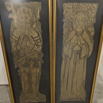 """**ITEM NOW SOLD** Pair framed brass rubbings from a set of effigies at Kendal, Westmoreland, UK. 16.5""""w x 42.75""""h. 295. pair"""
