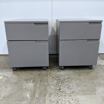 """Room & Board 'Milo' file cart on casters. File drawer below, storage drawer above. 19""""w x 21""""d x 24.5""""h. Current List: $499. + 99. for delivery. Modele's Price: 295.- (two file carts available)"""
