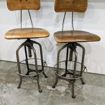 **ITEM NOW SOLD** Pair vintage stools by Toledo Metal Furniture Co. Backs and seats are adjustable. 650.- pair