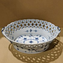 "**ITEM NOW SOLD** Vintage Royal Copenhagen Half Lace oval porcelain serving basket, c. 1920's. 10.25""l x 7.5""w x 3.5""h. 225.-"