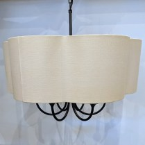 "Scalloped drum shade 6-light chandelier, maker not known. Bronze finish. 24"" dia. x 32""h. 225.-"