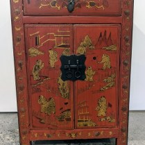 "**ITEM NOW SOLD** Small Chinese lacquered chest/side table. One drawer, cupboard below. 15.75""w x 11.75""d x 23.75""h. 150.-"