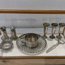 Sterling silver small treasures: Bottle opener :50. Salt & Pepper + butter dish: 60. set. Pitcher + saucer: 75. Set/3 mini bud vases: 20. set