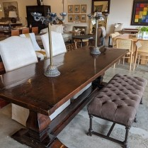 "**ITEM NOW SOLD** Trestle dining table, made from antique reclaimed wood from the 1800's. Solid wood, no nails used in construction, only dowels. 90""l 33.5""w x 30""h. 2950.-"