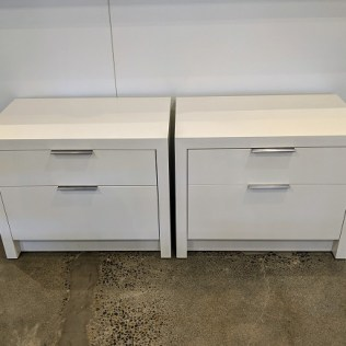 """**ITEM NOW SOLD** Pair Arden Home nightstands with custom paint: Benjamin Moore White Dove in satin finish. 28""""w x 18""""d x 22.25""""h. Orig. List: $3,800. pair Modele's Price: 1250.- pair"""