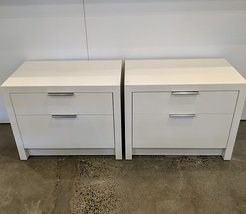 "Pair Arden Home nightstands with custom paint: Benjamin Moore White Dove in satin finish. 28""w x 18""d x 22.25""h. Orig. List: $3,800. pair Modele's Price: 1500.- pair"