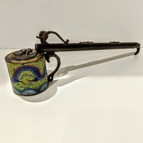 **ITEM NOW SOLD** Antique inkwell; Chinese cloisonne well with Japanese silver ornamentation on brush-holding stem. 115.-
