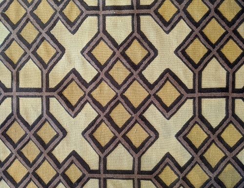 """Geometric patterned area rug, 8-9 years old. Recently cleaned. Wool/flat weave background with tufted design, 55""""w x 8'4""""l. Orig. list: approx. $3,000. Modele's Price: 625.-"""