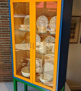 "Karl Andersson Polychrom vitrine, purchased by special order through Egbert's 20 years ago. Lighted birch interior, adjustable glass shelves. No longer in production. 41.25""w x 14.5""d x 70.75""h. Orig. list: $3,500. Modele's Price: 950.-"