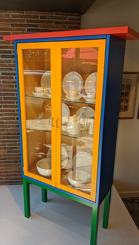 """Karl Andersson Polychrom vitrine, purchased by special order through Egbert's 20 years ago. Lighted birch interior, adjustable glass shelves. No longer in production. 41.25""""w x 14.5""""d x 70.75""""h. Orig. list: $3,500. Modele's Price: 950.-"""