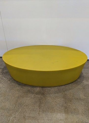 """Knoll Maya Lin outdoor coffee table, from her Stones Collection. Large size, now discontinued, in chartreuse. 43.75""""l x 29.5""""w x 10.525""""h. Orig. list: approx. $1,000. Modele's Price: 395.-"""