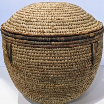 """**ITEM NOW SOLD** Lidded vintage basket, orig. purchased from Egbert's over 25 years ago. 18.25"""" dia. x 18""""h. 125.-"""