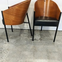 "**ITEM NOW SOLD** Pair 'Costes' chairs, designed by Philippe Starck and made by Aleph-Driade. c. 1990's. Mahogany plywood, leather seat, painted tubular steel. Out of production. 18.75""w x 22""d x 31.5h. 895.- pair"