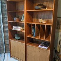 "**ITEM NOW SOLD** Pair vintage Danish teak bookcases, 25+ years old. Adjustable shelves, bull-nose edges. 27.75""w x 15.75""d x 78.5"" h 495.- pair"
