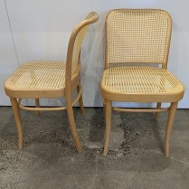 """**ITEM NOW SOLD** Set/6 Tangso Denmark 'Prague' dining side chairs. Natural bentwood frame, hand-tied synthetic cane seats and backs. Made in Czech Republic. 17.75""""w x 20.5""""d x 31.25""""h 750.- set/6"""
