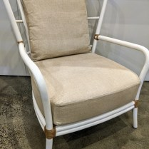"**ITEM NOW SOLD** McGuire 'Shipley' lounge chair, linen covered cusions, 5 yrs. old. 30.5""w x 37""d x 38.5""h. Orig. list: approx. $2,500.-3,500. Modele's Price: 950.-"