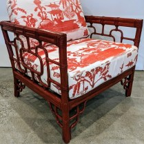 "Pair vintage McGuire 'Marview' lounge chairs. Red stain on rattan frame, chinoiserie fabric with ombre effect. Very comfy! 31""w x 30""d x 33.5""h. 1500.- pair"