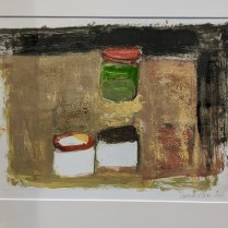 "'Three Jars' by Seattle Eric Day Chamberlain, 2020. Original monotype, maple frame, UV plexi. 24""w x 21""h. 550.-"