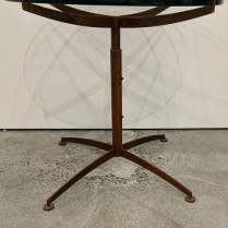 "**ITEM NOW SOLD** Studio Steel side table by Steven Hensel, c. 1994. 28.25"" dia. x 26.5""h. Orig. $2,850. Modele's Price: 1100.-"