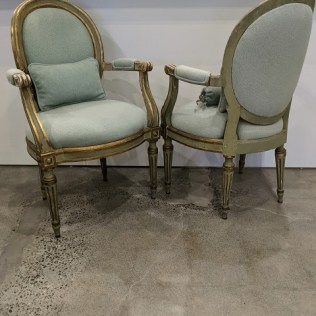 "Pair antique French Louis XVI-style chairs with contemporary Glant fabric. Includes three small matching pillows. 25""w x 23""d x 39.5""h. 1100. pair"