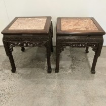 """Pair vintage/antique carved Chinese tables with stone tops. 17"""" x 17.5"""" x 19""""h. 495. pair"""