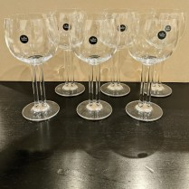 "**ITEM NOW SOLD** Set/6 Rosenthal 'Cupola' red wine glasses, 7""h. Never used, includes original boxes. Orig. List: over $500. Modele's Price: 195. set"