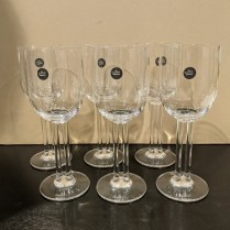 """Set/6 Rosenthal 'Cupols' white wine glasses, 7.5""""h. Never used, includes original boxes. Orig. List: over $450. Modele's Price: 175. set"""