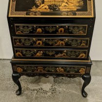 """**ITEM NOW SOLD** Petite vintage Maddox Furniture Co. (American) drop-front secretary, drawers below. 28""""w x 17.5""""d x 39.5""""h. When open: 27.5""""deep. 495.-"""