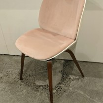 "Gubi Beetle chair (single) in velvet with molded shell back and walnut legs. Discontinued style. 19""w x 22""d x 34""h. Orig. list: approx. $800. Modele's price: 350."