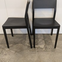 "**ITEM NOW SOLD** Set/8 Design Within Reach 'Note' dining side chairs. Solid ash frame, molded plywood seat and back rest with ash veneer, ebonized finish. Stackable. 19.5""w x 19""d x 33""h. Current list: $1800. + 180. shipping. Modele's Price: 995. set"