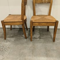 "Set/4 solid wood dining side chairs, purchased in 2007. Hand-tied seats, distressed finish. 20.5""w x 21""d x 34.5""h. Orig. list: $4,700. set/4 Modele's Price: 1595. set/4"