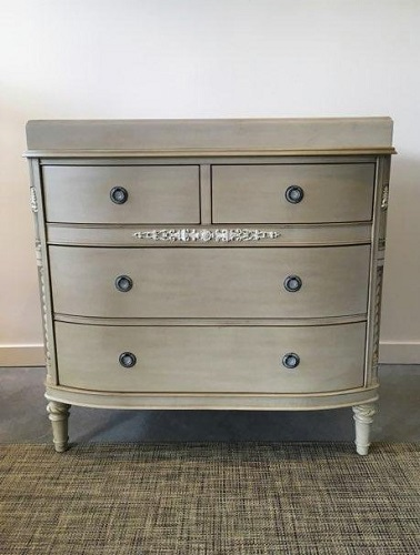 """Restoration Hardware """"Elise' dresser with changing table option (removable). Purchased in 2014, never used. 38""""w x 21""""d x 37.25""""h. Orig. list: over $1,400. Modele's Price: 750."""