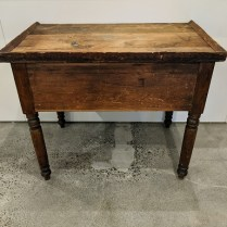 """Rustic antique wood table, purchased from Red Ticking in 2017 for $3,800. 36""""w x 22""""d x 30""""h. 950."""