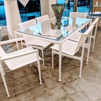"Knoll Richard Schultz 1966 Collection outdoor dining table: table 60"" x 38"" with 2 arm chairs and 4 side chairs. Two months old, never used. Current list: $11,303. Modele's Price: 6500."
