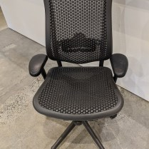 """Herman Miller Celle desk chair with tilt limiter and seat angle, adjustable lumbar support, adjustable arms and seat depth. 29.5"""" w x 27.5""""d. Current list: $845. Modele's Price: 350."""
