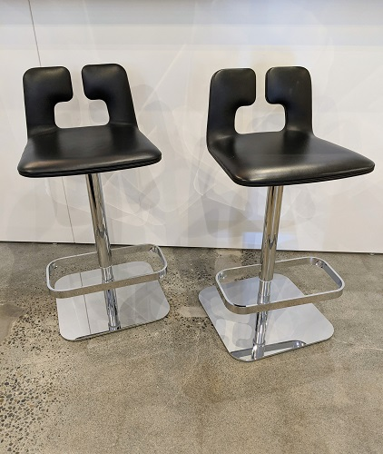 """Pair Poltrona Frau 'Alo' swivel counter stools in leather and chromed steel. Approx. 10 years old, excellent condition. 16"""" sq. (base) x 33""""h. 950. pair"""