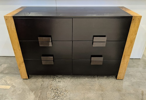 """6-Drawer 'Santos' dresser by Manufacturing Environment Inc. Purchased from Masins in 2010. 59.25""""w x 22.25""""d x 36.25""""h. 1195."""