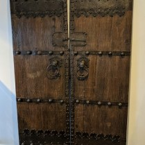 """**ITEM NOW SOLD** Pair old Chinese doors, purchased in Macao 30 years ago.53.75""""w x 97.5""""h. 1950."""