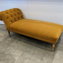 """**ITEM NOW SOLD** Tufted velvet chaise with new upholstery. 71.5""""l x 33""""w x 29.5""""h. 1295.-"""