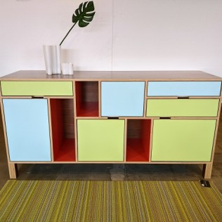 """**ITEM NOW SOLD** Kerf sideboard/credenza, made locally in Seattle. Walnut plywood case and laminate doors and drawer fronts. 72""""l x 21""""d x 36""""h. Current list: $4,800. Modele's price: 1950."""