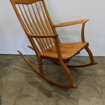 """**ITEM NOW SOLD** Handcrafted cherry rocker by Michael Neiman, purchased through Northwest Woodworkers Gallery. 28.5""""w x 48""""d x 42""""h. Current list: $3,800. Modele's price: 1850."""